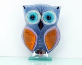 Fused Glass owl  Series (art glass Sculpture in pink)