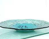 Fused Art Glass bowl ,  blue  Green Sea