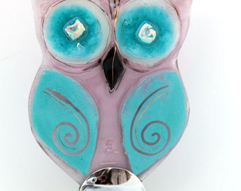Owl Sculpture , Fused glass Housewarming  Gift
