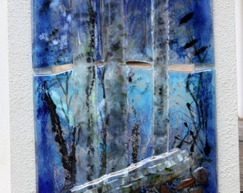 painting on glass original landscape view blue forest fused glass wall art