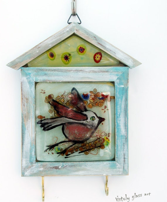 Fused glass Key Hanger  , decorative red bird wall Hanging