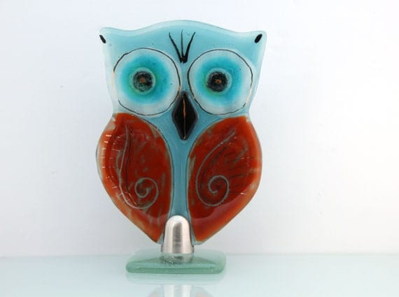 Owl Sculpture Fused glass Aqua turquoise