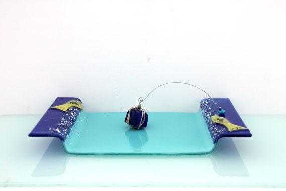 Fused Glass Aqua blue  napkin holder