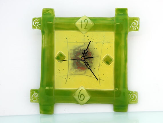 fused glass green and yellow wall clock