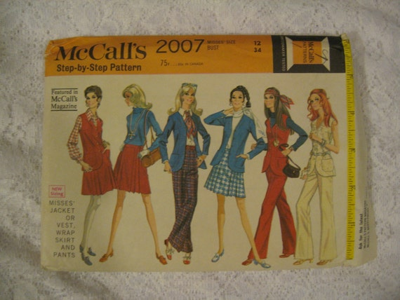 1969 Classic Sixties Pant Suit Ensemble includes Wrap Wrap Around Pleat Pleated Skirt Bell Bottom Pants Fitted Vest Fitted Jacket  Pant Suit  Vintage  McCalls 2007 Size 12 Uncut Pattern