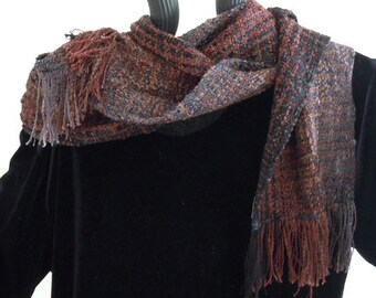 Scarf, Handwoven Browns and Black, Soft and Flowing