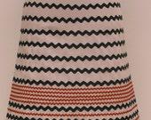 Cream skirt with tan\/green ric rac (S)