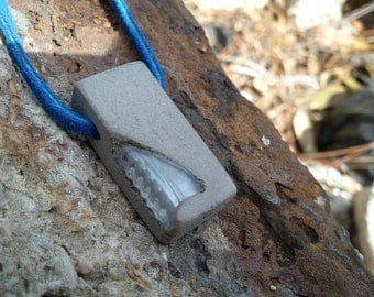 Concrete Pendant - Natural gray patina recycled clear glass aggregate urban fossil