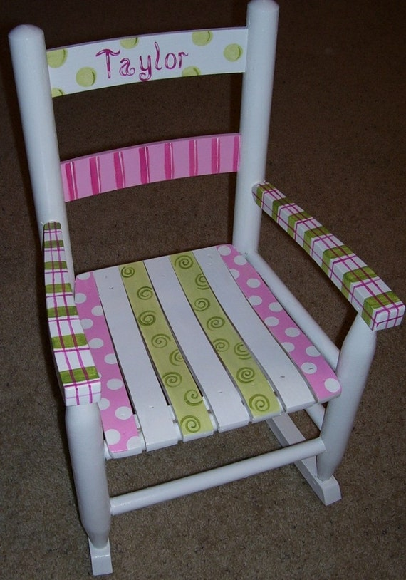 Items similar to Childrens Rocking Chair. Hand Painted on Etsy