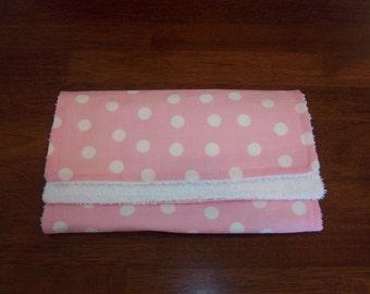 Zoo Babies Polka Dots in Pink Burp Cloth