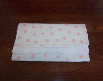 Zoo Babies Pink Polka DotsBurp Cloth