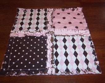 Pink and Brown Polka Dots Security Blanket / Ragged Quilt