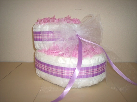 Purple baby bootie diaper cake by cribcreation on etsy