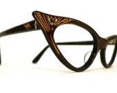Sale Reserved for Rhonda Gilded Auburn Horn Rimmed Cat Eye Frames, Spectacular NOS AB Rhinestone Eye or Sunglasses, Mad Men