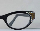 Vintage Black Cat Eye Glasses, AB Rhinestones and Gilding, Prescription Eye or Sunglasses