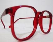 1980s Scarlet Red Big Horn Rimmed Eyeglasses Frames, Sunglasses, NOS, Log Lady Frames in Rouge Cherry