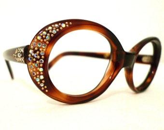 sale Mod Tortoise Shell Rhinestone Bubble Eyeglass Frames,  Amber Brown Cat Eye Glasses or Sunglasses, 1960s 1970s NOS, Unused. on sale