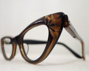 Vintage Cat Eye Glasses NOS Honey and Molasses, Brunette Black Carved Cat Eye Frames, Eyeglasses, Sunglasses sale