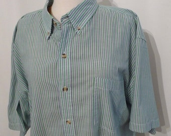 Vintage Striped OxfordBlue Green Mens Oxford Shirt// Golf Shirt, Vertical Stripes/ L to XL / Short Sleeved