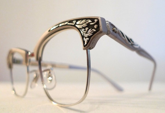 Vintage Shuron Eyeglass Frames : Art Nouveau Silver Black Vintage Cat Eye Glasses Shuron Deco