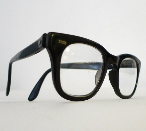 B&L Black Horn Rimmed Eyeglasses, Classic USA Mad Men 1960s Birth Control  Eye Glass Frames