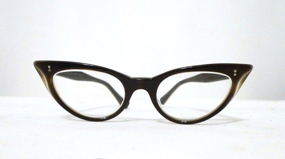 Wildcat Tiger Eye Effect Horn Rimmed Cat Eyes, Winged Brown Over Black Eyeglasses or Sunglasses Cats Eyes