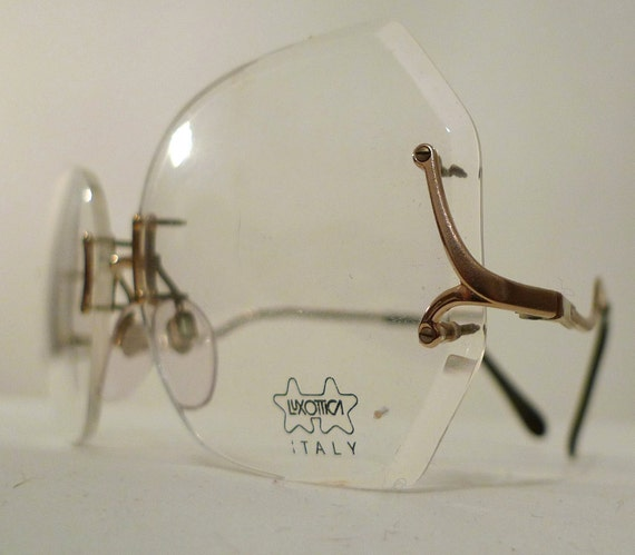 Luxottica Round Eyeglass Frames : 70s Gold Plated Luxottica Oversized Rimless Eyeglass Frames