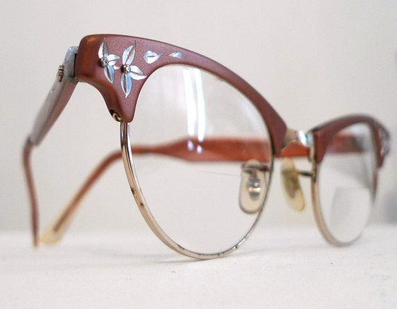 SEASON SALE Vintage Aluminum Rose Cat Eye, Copper Colored and Golden Eye or Sunglasses Frames, USA
