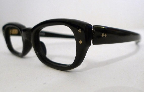 Squared Black Frame France Eyeglass Frames, Rectilinear Horn Rimmed Sunglasses, NOS
