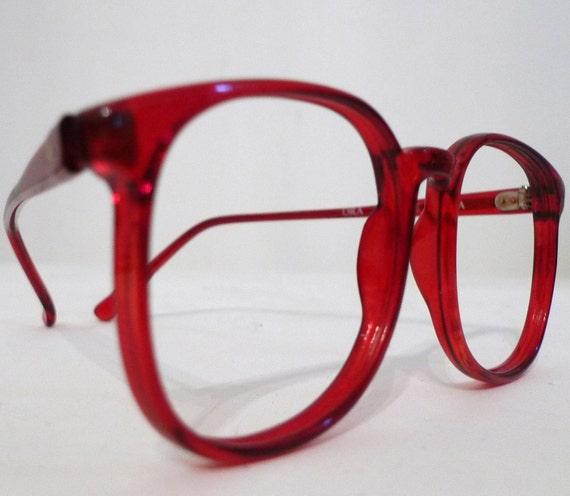 1980s Scarlet Red Big Horn Rimmed Eyeglasses Frames