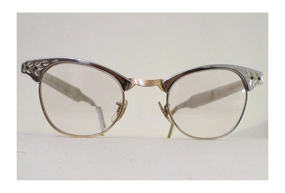 Silvery Aluminum Cat Eye SRO Eyeglass Frames, 12k Gold Filled, Silver Chrome with Leafy Florettes, Larger Size