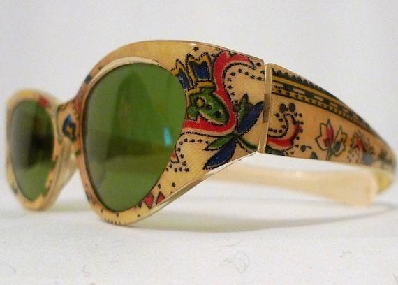 Vintage Paisley Print Cat Eye  Eyeglass Frames//Prescription Quality Sunglasses/ Quilt Print/ Embroidery Effect Eyeglasses