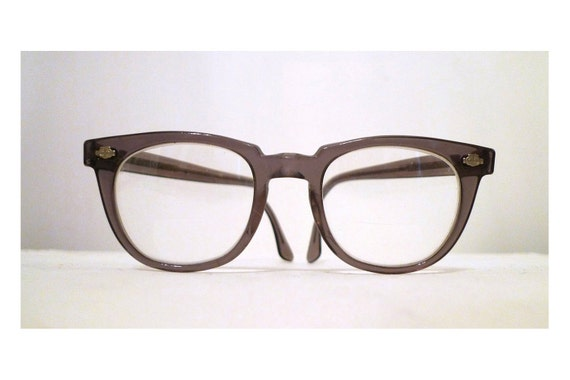 48 22 Titmus Z87 Gray Smoke Horn Rimmed Eyeglass Frames, USA, Classic, Safety Goggles
