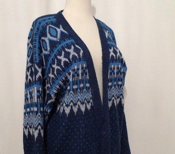 Blue Nordic Cardigan Sweater / Non Wool Fair Isle Ski Top / Skate Punk Gramp Snowflake Top