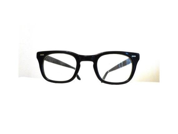 Wide Bridge Classic Black Horn Rimmed Eyeglasses Frames, USS 48 - 24 Mad Men Prescription Sunglasses Frames