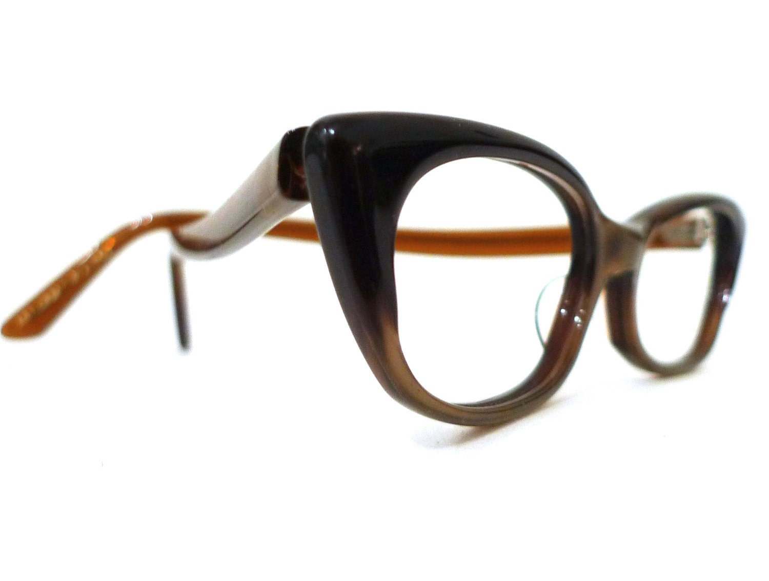 Small Frame Cateye Glasses : VTG 50s 60s NOS Winged Cat Eye Glasses Eyeglasses Frame Silken