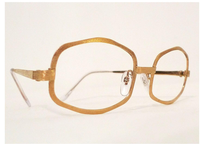 All Gold Glasses Frames : SALE // Larger 24K Gold Plate Golden Eyeglasses or by ...