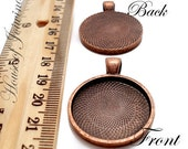 10 Deep Well Pendant Blank Tray Finding for Resin Round 1 inch (25mm) Antiqued Vintage Copper Plated
