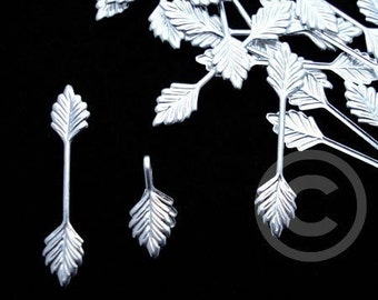 100 Pieces 29x6mm Fold over Glue On LEAF Pendant Bail Silver Plate