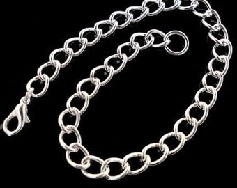 Lot of (5) Silver Plate Curb Chain Charm Bracelet 7.5-8.5 inches