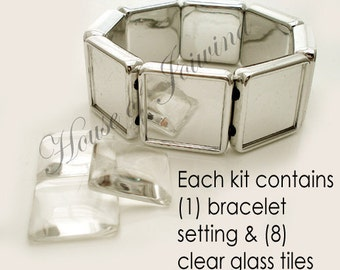 DIY Photo Bracelet Setting and Square Glass Tiles