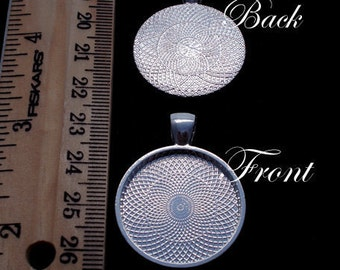 40 Deep Well Pendant Blank Tray Finding for Resin Round 1 inch (25mm) Silver Plated