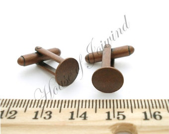 18 Pair (36 pieces) Cufflinks Backs Bases with 10mm Glue Pad ANTIQUE COPPER plated