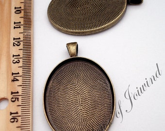 30x40mm ANTIQUED BRASS Oval Cameo Pendant Tray Setting Deep Well - 10 Pieces
