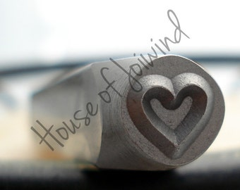 HEART Outline  - Metal Design Stamp Punch 6x6mm