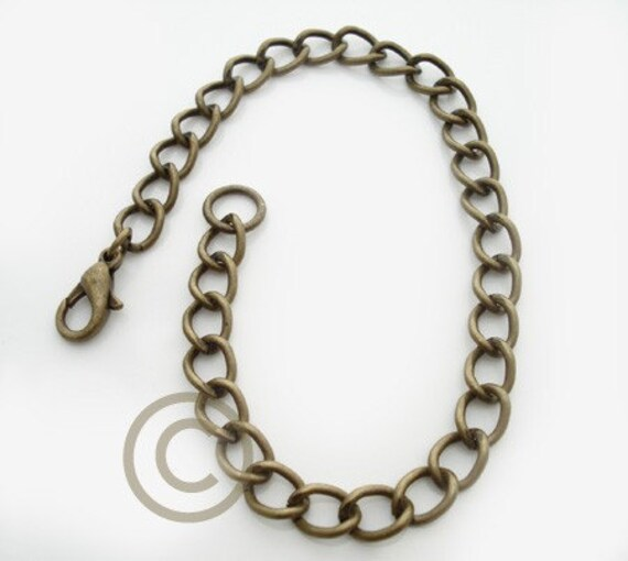 Lot of (10) Antiqued Brass Curb Chain Charm Bracelet 7.5-8.5 inches