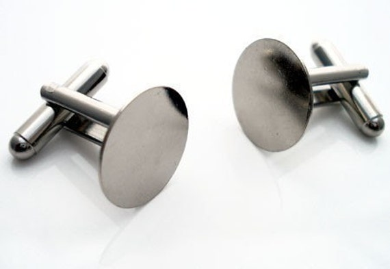 24 Pair (48 Pieces) Cufflinks with 15mm Glue Pad Base Silver Toned