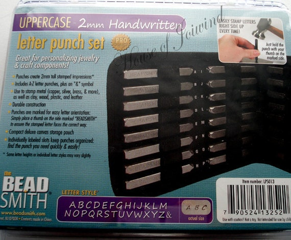 Metal Stamp Punch Set UPPERCASE 2mm HANDWRITTEN Font Alphabet 27 Pieces Stamping  Includes Case