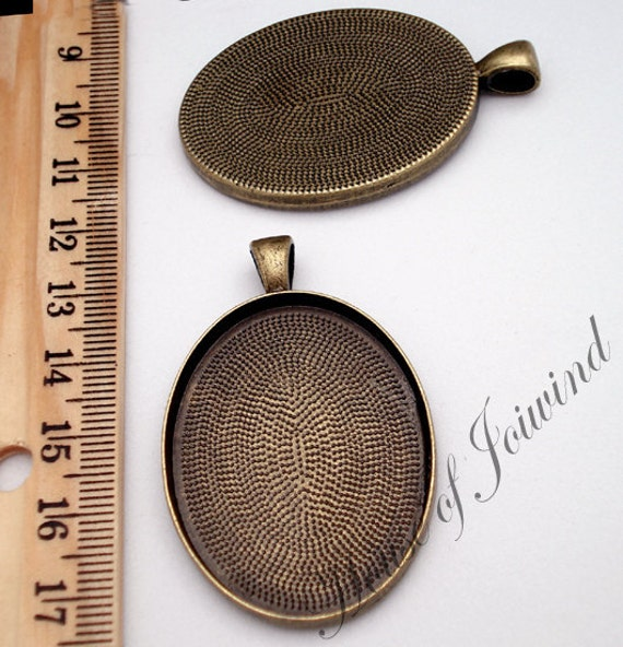 30x40mm ANTIQUED BRASS Oval Cameo Pendant Tray Setting Deep Well - 5 Pieces