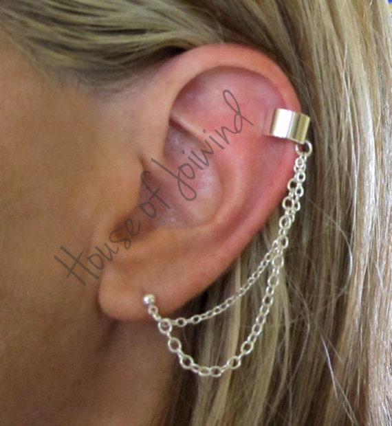 2 pieces 1 pair ear cuff wrap findings with chain and by